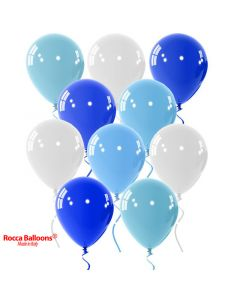 Balloon latex 9 inch pastel light blue-white-blue 15 pcs