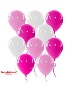 Balloon latex 9 inch pastel pink-white-fucshia 15 pcs