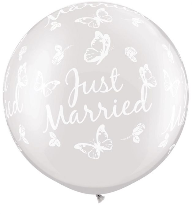 Qualatex Μπαλόνι 3 feet Pearl white Just Married butterfies around ND